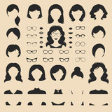 Big vector set of dress up constructor with different woman haircuts etc in flat style. Female faces icon creator. Big vector set of dress up constructor with stock illustration