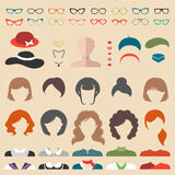 Big vector set of dress up constructor with different woman haircuts, glasse etc. Female faces icon creator. Big vector set of dress up constructor with vector illustration