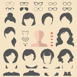 Big vector set of dress up constructor with different woman haircuts, glasse etc. Female faces icon creator. Big vector set of dress up constructor with stock illustration