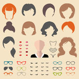 Big vector set of dress up constructor with different woman haircuts, glasses, lips etc. Female faces icon creator. Big vector set of dress up constructor with stock illustration