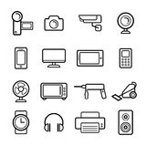 Big vector set of electrical engineering, household appliances and electronics icons in line style. Royalty Free Stock Photography