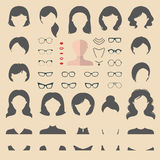 Big vector set of flat dress up constructor with different woman haircuts, glasses, lips etc. Female faces icon creator. Stock Photo