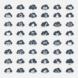 Big vector set of forty-six black cloud  shapes Royalty Free Stock Photo