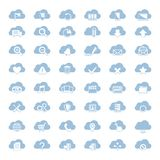 Big vector set of forty-six blue cloud  shapes Stock Images
