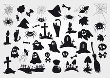 Big vector set of Halloween silhouettes objects and creatures. Stock Image
