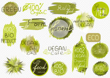 Big vector set of healthy organic food labels for restaurants, c Royalty Free Stock Photos