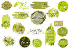 Big vector set of healthy organic food labels for restaurants, c Royalty Free Stock Photography
