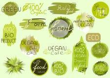Big vector set of healthy organic food labels for restaurants, c Stock Photo
