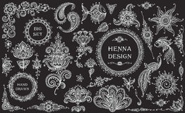 Big vector Set of henna floral and animal elements and frames. Based on traditional Asian ornaments. Paisley Mehndi Tattoo Doodles collection Stock Photography