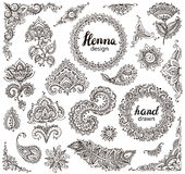 Big vector set of henna floral elements and frames Stock Photography