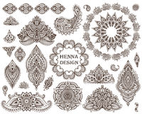 Big vector set of henna floral elements and frames Stock Photo
