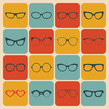 Big vector set of icons of different shapes glasses in trendy flat style. Stock Photography