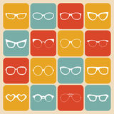 Big vector set of icons of different shapes glasses in trendy flat style. Royalty Free Stock Photography