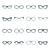 Big vector set of icons of different shapes glasses in trendy flat style. Stock Photo