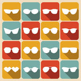 Big vector set of icons of different shapes sunglasses in trendy flat style. Royalty Free Stock Photo