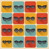 Big vector set of icons of different shapes sunglasses in trendy flat style. Stock Photos