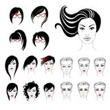Big vector set of illustration of woma Royalty Free Stock Image