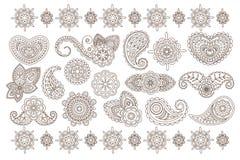 Big vector set of Indian floral ornaments. Back mandala flowers. Elegant vintage henna. Monochrome illustration vector illustration