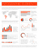 Big Vector set of Infographic elements. For your documents and reports (red version Stock Images