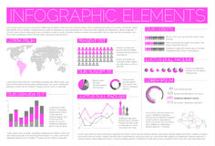 Big Vector set of Infographic elements. For your documents and reports (light purple version Royalty Free Stock Photo