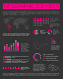 Big Vector set of Infographic elements. For your documents and reports (purple and black version Stock Photo