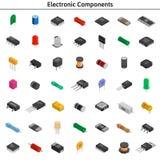 Big vector set of izometric electronic components. Capacitors, r. Big vector set of izometric electronic components. Collection of capacitors, resistors, diodes Royalty Free Stock Photos