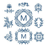 Big Vector set of line floral design elements for logos, frames and borders Stock Photos