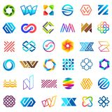 Big vector set of logo design. Unusual icons for business Royalty Free Stock Images