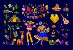 Big vector set of mexico elements, skeleton characters, animals in flat hand drawn style isolated on dark background. Icons for fiesta, celebration, national Royalty Free Stock Photography