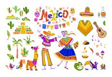 Big vector set of mexico elements, skeleton characters, animals in flat hand drawn style isolated on white background. Icons for fiesta, celebration, national Royalty Free Stock Photo