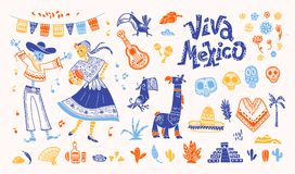 Big vector set of mexico elements, skeleton characters, animals in flat hand drawn style isolated on white background. Icons for fiesta, celebration, national Stock Image