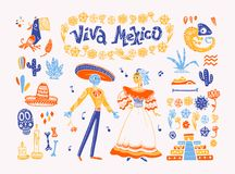 Big vector set of mexico elements, skeleton characters, animals in flat hand drawn style isolated on white background. Icons for fiesta, celebration, national vector illustration