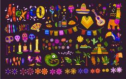 Big vector set of mexico elements, symbols & animals in flat hand drawn style isolated on dark background. Icons for fiesta, celebrations,  national patterns Stock Photo