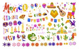 Big vector set of mexico elements, symbols & animals in flat hand drawn style isolated on white background. Icons for fiesta, celebrations,  national patterns Royalty Free Stock Photos