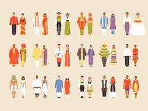 Big vector set of national costumes, part 1. National costumes of China, India, USA, Indonesia, Pakistan, Brazil, Nigeria, Bangladesh, Russia Japan Mexico stock illustration