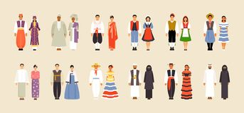 Big vector set of national costumes, part 2 stock illustration
