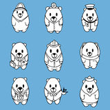 Big vector set of nine cartoon bears Stock Photography