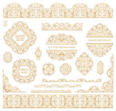 Big vector set of ornate art frames, vignettes and border. (strip ribbon band) for design template. Element in Eastern style. Golden outline. Decor for Royalty Free Stock Photo