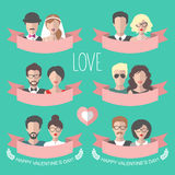 Big vector set of romantic valentine cards with flat ribbon, heart, boy and girl. Love cards collection with couples. Stock Image