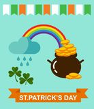 Big vector set of Saint Patricks Day icons. Vector illustration of a St. Patrick's Day design elements collection Stock Images