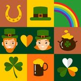 Big vector set of Saint Patricks Day icons. Vector illustration of a St. Patrick's Day design elements collection Royalty Free Stock Image