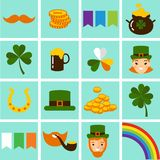 Big vector set of Saint Patricks Day icons. Vector illustration of a St. Patrick's Day design elements collection Royalty Free Stock Photography