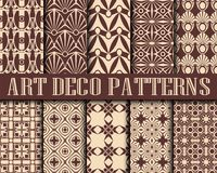 Art Deco Patterns. Big vector set of seamless patterns in art deco retro vintage style. Creative templates in style of 1920s. Vector illustration Royalty Free Stock Image
