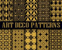 Art Deco Patterns. Big vector set of seamless patterns in art deco retro vintage style. Creative templates in style of 1920s. Vector illustration Stock Images