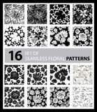 Big vector set of sixteen seamless floral patterns Stock Photo