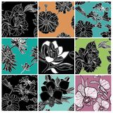 Big vector set of stylish floral backgrounds. Big vector set of stylish floral seamless backgrounds - design elements can be used for invitation, greeting cards Stock Illustration