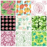 Big vector set of stylish floral backgrounds. Big vector set of stylish floral seamless backgrounds - design elements can be used for invitation, greeting cards Stock Image