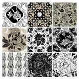 Big vector set of stylish floral backgrounds. Big vector set of stylish floral seamless backgrounds - design elements can be used for invitation, greeting cards Vector Illustration