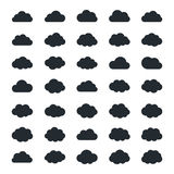 Big vector set of thirty-five black cloud  shapes Stock Images
