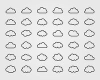 Big vector set of thirty-six cloud shapes Stock Image